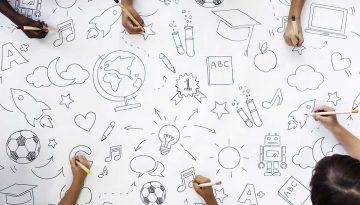 Kids drawing education symbols