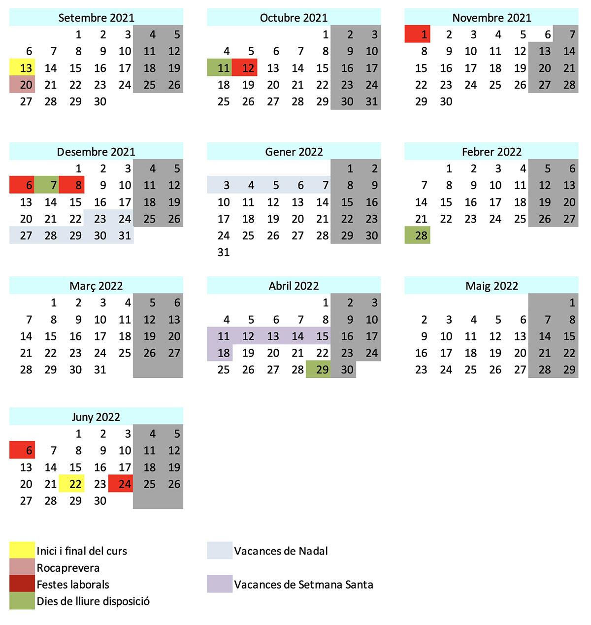 Calendari escola curs 2021-2022